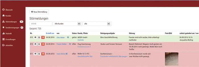 Fehlermeldungen / Störmeldung im OnGeb Qualitätssystem für die Unterhaltsreinigung